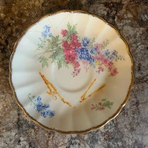 Hostess White & floral serving or tea cup plate
